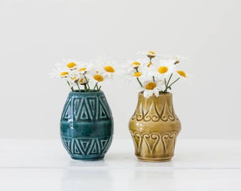 West Germany - Pair of Vases - Blue & Yellow - Graphic Details  - No. 966 and 967 - German Midcentury