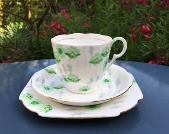 Green and yellow floral vintage tea cup trio - Grafton hand painted English bone china teacup