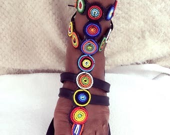 Sandal leather and beads