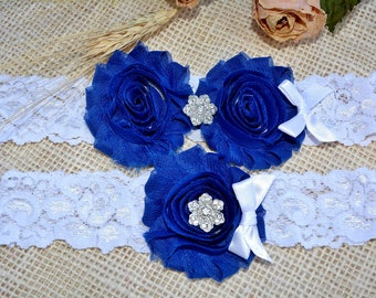 Bridal Garter, Keepsake Royal Blue Garter, Wedding Garter Set, Something Blue, Handmade Garter, Toss  Navy Blue Garter,  Lace Bridal Garter