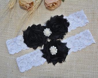Black Wedding Garter, Bridal Garter Set, Black Garter Set, Black Lace Garter, Black Bridal Garter, Handmade Garter, White Black Garter, Gift