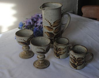 Studio Pottery Stoneware Oatmeal Glaze with leaf design Pitcher, 2 x small jugs and 2 x Goblets