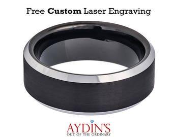Black Brushed Center High Polished Steel Color Beveled Edge 8mm Tungsten Carbide Wedding Ring