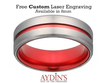 Tungsten Ring   Wedding Band Men   Silver And Red Tungsten   Scarlet Red   Beveled Edge   Tungsten Wedding Band