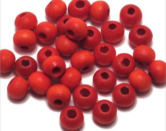 Set of 100 round 6mm red wooden beads