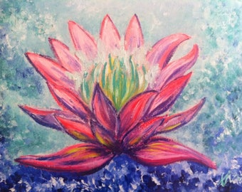 Lotus flower opening heart chakra acrylic painting on canvas