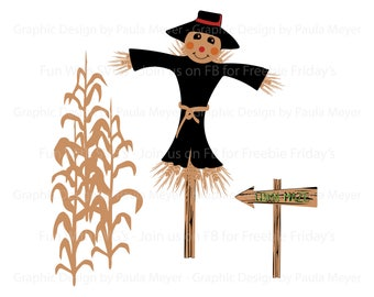 Harvest Scarecrow SVG, Corn Stalks, Corn Maze, Sign, Harvest SVG, Wall Art, High Resolution Printable Graphics and Editable Vector Art