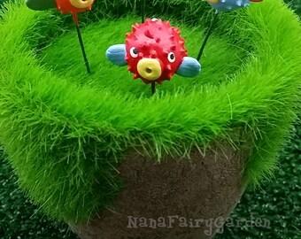 Blowfishesh figurines ceramic Miniature Dollhouse Fairy Garden 5 Pcs/Set