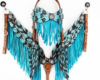 MadcoW Handmade Turquoise Angel Wings Fringe Wickett & Craig Hand Tooled Leather Headstall Western Horse Trail Show Bridle Breast Collar Set