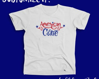 American Cutie Onesie Youth/Toddler Tee Shirt 4th of July Independence Day Fireworks All American Cutie