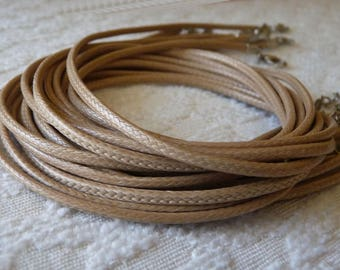 4x Beige Waxed Cord, 17.5 inches Beige Necklace Cord, Adjustable Finished Necklace Cord with Lobster Clasp, Jewelry Supplies