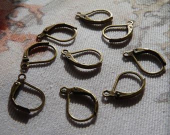 Lever Back Earring Hooks, Bronze Earring Wires French Hooks, 10x16mm French Earring Hooks, Locking Ear Wires Charm Findings