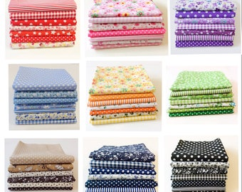 7 pattern Mixed  100% Cotton Fabric Fat Quarter Bundles in 9 Colours ( Green, Red, Orange, Pink, Blue, Brown, Navy, Black, Purple)