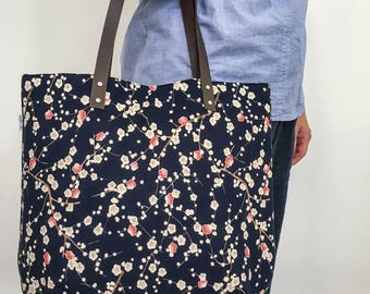 Tote bag canvas plum blossoms Navy Blue off white rose leather straps