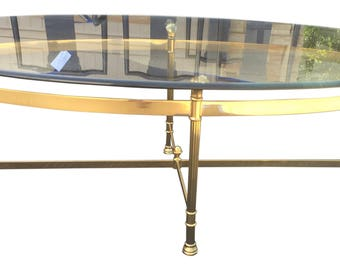 Hollywood Regency Style Brass & Glass Coffee Table
