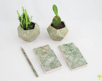 Mini Notepad/notebook in a stream with foliage patterned paper