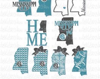 SALE! Mississippi State Monogram | Mississippi SVG dxf jpg png cut files | Mississippi Girl SVG | Mississippi Home svg | Magnolia State svg