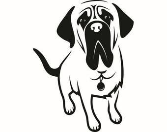 English Mastiff #2 Dog Breed K-9 Animal Pet Hound Lab Puppy Logo .SVG .EPS .PNG Digital Clipart Vector Cricut Cut Cutting Download File