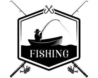 Fishing Logo #5 Fisherman Angling Fish Hook Fresh Water Hunting Tournament Competition Contest .SVG .EPS .PNG Vector Cricut Cut Cutting File