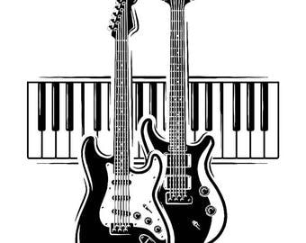Guitar Logo #5 Electric Electrical Keyboard Piano Musical Instrument Rock Music Band .SVG .EPS .PNG Digital Clipart Vector Cricut Cutting
