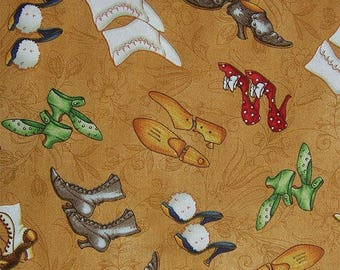 Tiny Tailors Shoes on tan fabric by Quilting Treasures 1649-21015-S