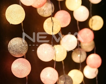 35 Pastel Pink Gray Beige White Cotton Ball String Lights Fairy Lights Garland Christmas Lights Bedroom Nursery Baby Kids Wall Home Decor