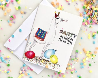 Party Animal Birthday Card, Happy Birthday Card, Illustrated Birthday Card, Llama Birthday Card, Animal Happy Birthday Card