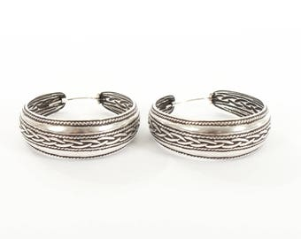 Sterling Silver Large Hooped Earrings With a Plait Design