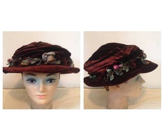 On Sale Antique Victorian Brown Velvet Hat