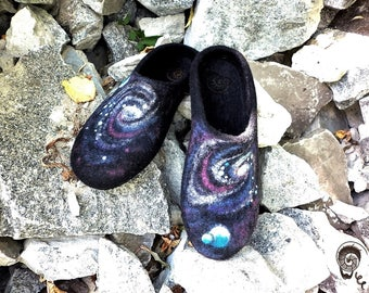 Man Felted Slipper Universe Space Spiritual Milkyway Star Astronomy Shoe Zen Galaxy Meditation Clothing Celestial Skies Boyfriend Husband