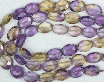 8 inch long strand faceted oval shape AMETRINE Size 10 -- 12 mm approx