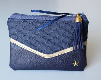 Wallet / card victory leatherette Navy Blue and gold