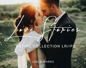 Love Stories for Lightroom & Photoshop Actions, Presets, ACRs for Bright Portrait and Modern Moody Wedding Edits in Lightroom Photoshop