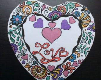 Heart for Valentine's day - drawing with Posca markers on canvas