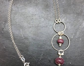 Purple silver and glass beads necklace Lampwork
