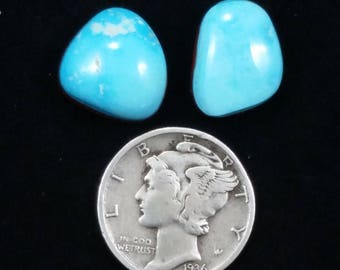 Natural Nevada Turquoise, 10.6 carats, 12x12x6mm and 10x13x4.4mm