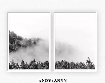 Black and White Forest Print, Forest Wall Art, Scandinavian Print, Minimalist Landscape, Digital Print, Nature Photography, Poster Print Set