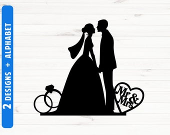 Wedding silhouette etsy wedding silhouette cake topper weddong silhouette clipart wedding svg files wedding scg fonts cut files junglespirit Choice Image