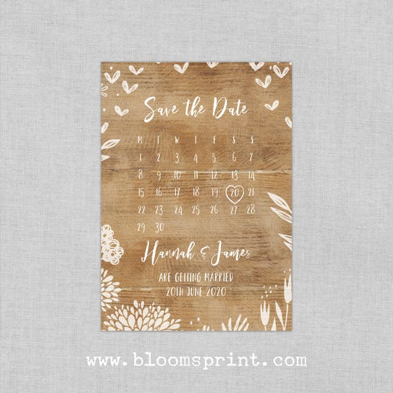 Wedding Save-the-date, Rustic save the date magnets, Calendar save the date cards, Personalised Save The Date, Wedding Announcement  A6