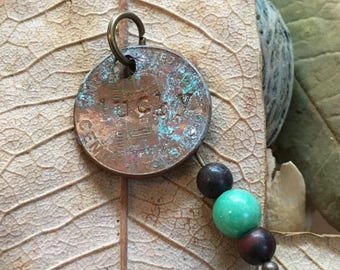 Handmade, Boho, Industrial, Steampunk, Copper, Bronze, Patina, Lucky Penny, Turquoise, Brown, Bead, Dangle, Drop, Earring & Pendant Set