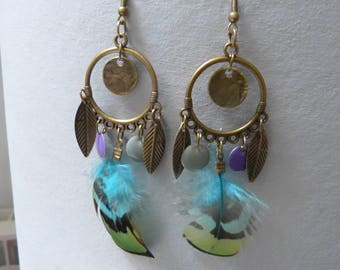 Charm & feather earrings