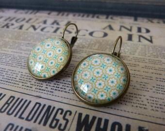 Green mandala cabochon earrings
