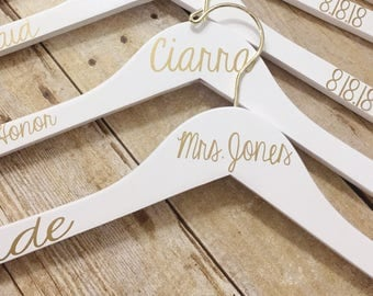 Set of 9 Wedding Hangers | Bridal Hanger Gift | Bridal Party Gift | Bridal Hanger | Custom Wedding Hangers | Bridesmaid Hanger