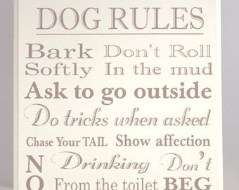 Dog Rules Wooden Sign Plaque Funny Quotes Meme Cream Ex Large 30x24 F1184