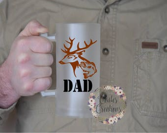 Dad beer mug//frosted beer glass//16 oz beer stein//fathers day gift//gift for husband//dishwasher safe//permanent logo