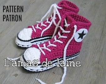 San's ADULT High Top Slippers crochet pattern - shoes, sneakers, basket, footgear, footwear, feet - pdf file, digital download ONLY