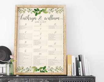 Laurel Wedding Seating Chart, Seating Chart, Seating Arrangement, Seating Chart Ideas, Seating Chart Wedding, Seating Chart Laurel Leaves