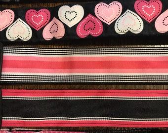 "Pink and Black 1.5"" Adjustable Dog Collars"