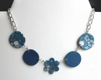 Blue and white, designer jewelry necklace