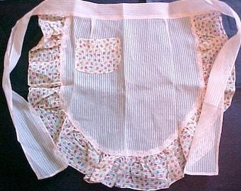 Vintage Pink Organza Sheer Cotton Print Half Apron flower print mid century